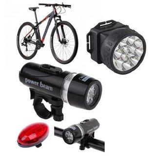 Lanterna Segurança Bicicleta Traseira e Frontal Luz Capacete