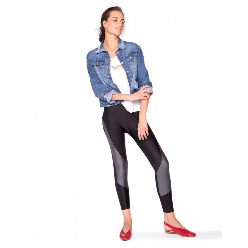 Legging Legging Preto Amaro Recorte Amaro Brilhante qR71qvw