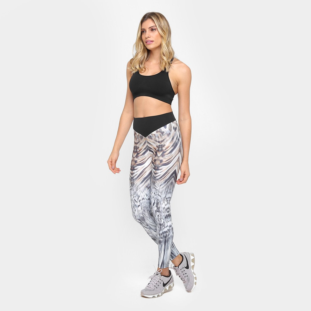 Legging Colcci Legging Fitness Cinza Preto Animal Colcci e Fitness Print awdq57wT