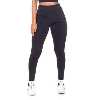 Legging com Saia Fitness Preto Poliéster - GG (52-54)