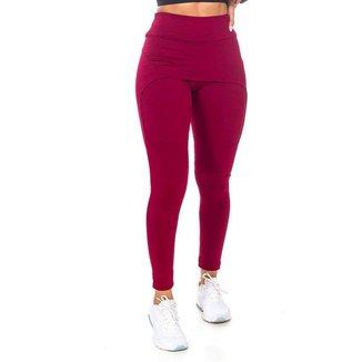 Legging com Saia Fitness Vermelho Poliéster - G (48-50)
