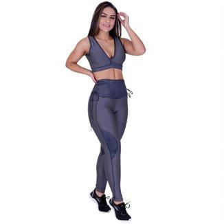 Legging Fitness Feminina Textura Relevo e Detalhe Cirrê Cadarço Cós Alto Orbis - Rosa, G