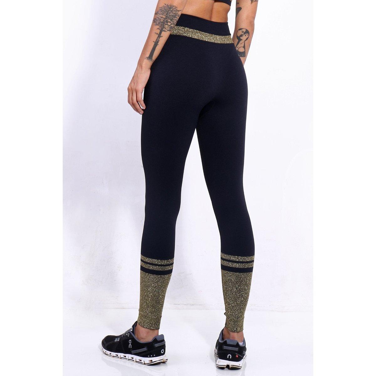 Legging Legging Rokbox e Preto Costura Bright Dourado Rokbox Sem qp5dq