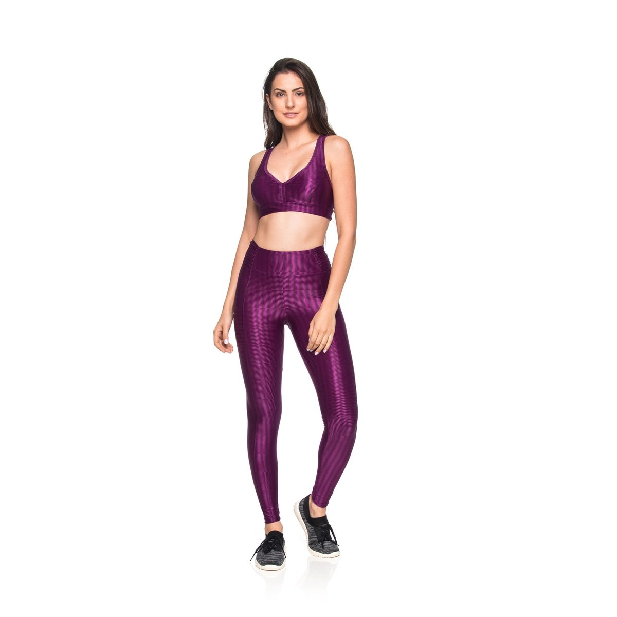 Fitness Leggings Leggings Elástica Roxo Cós Zig Mulher Fitness Fit qSSnxrE