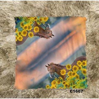 Lenço Bandana Paisagem Floral Arte Cavalos Country C1607