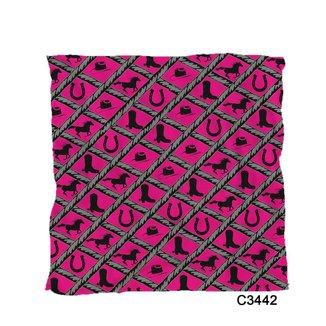 Lenço Bandana Rosa Country Objetos De Rodeio Cowgirl C3442