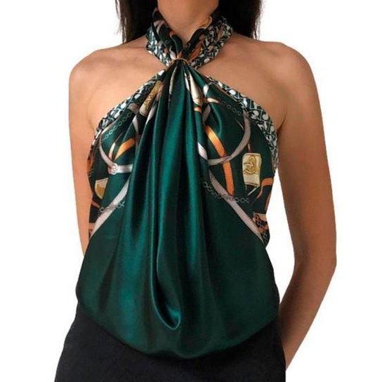 Lenço Bolsas e Correntes 90 cm x 90 cm - Verde
