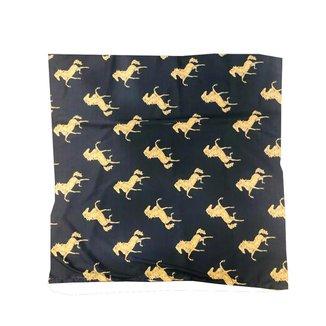 Lenço Country Cavalos Amarelos Fundo Preto Country