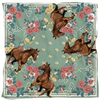 Lenço Ferradura Cavalo Marrom Fundo Floral Country