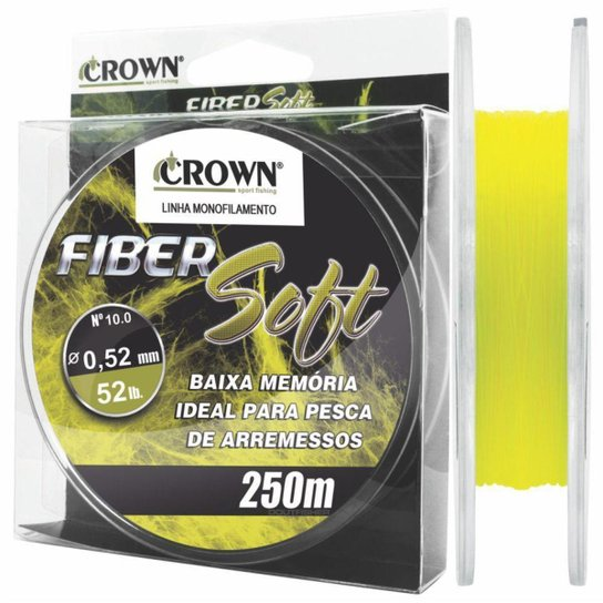 Linha Crown Fiber Soft Amarela 0,52mm  52 lbs 250m - Amarelo
