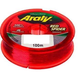 Linha De Pesca Araty Red Spider 0,35 Mm 100 Metros Com 10 Unidades