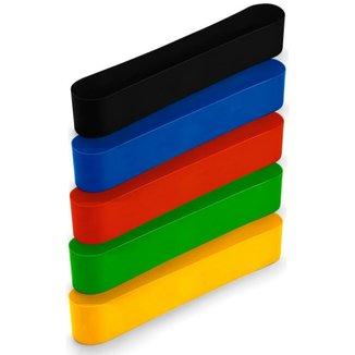 Liquidação Kit 5 Mini Band Faixas Elásticas Resistentes Funcional Treino Em Casa