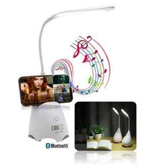 Luminaria de Mesa 3 Niveis Touch Sem Fio LED Flexivel Caixa de Som