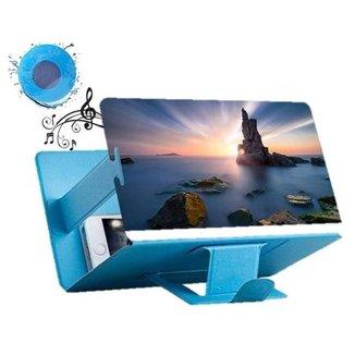 Lupa Ampliadora Tela Celular 3D Universal Azul Caixa Som
