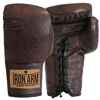 Luva Boxe Muay Thai Classic Café Iron Arm Cadarço