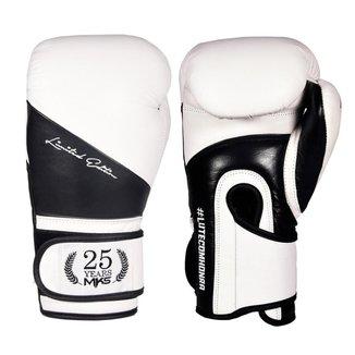 Luva de Boxe MKS Combat Profissional Couro Edição Limitada  White Black