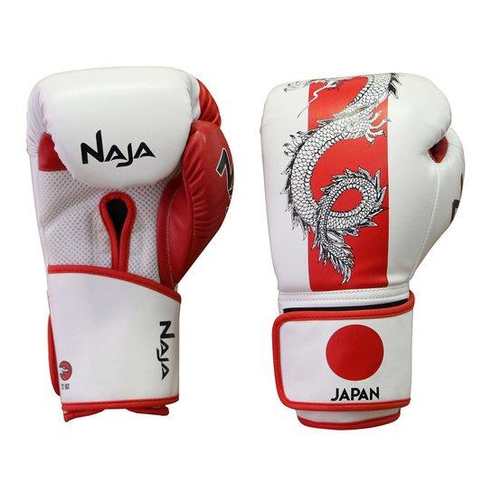 Luva de Boxe / Muay Thai Naja Países Japão 12 Oz - Branco+Vermelho