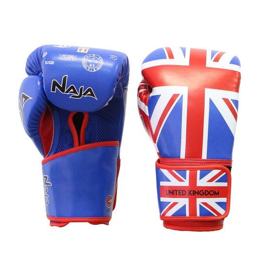 Luva de Boxe / Muay Thai Naja Reino Unido 12 Oz - Azul+Vermelho