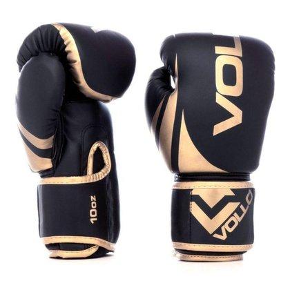 Luva de Boxe Training Vollo 10 Oz Preta e Dourada
