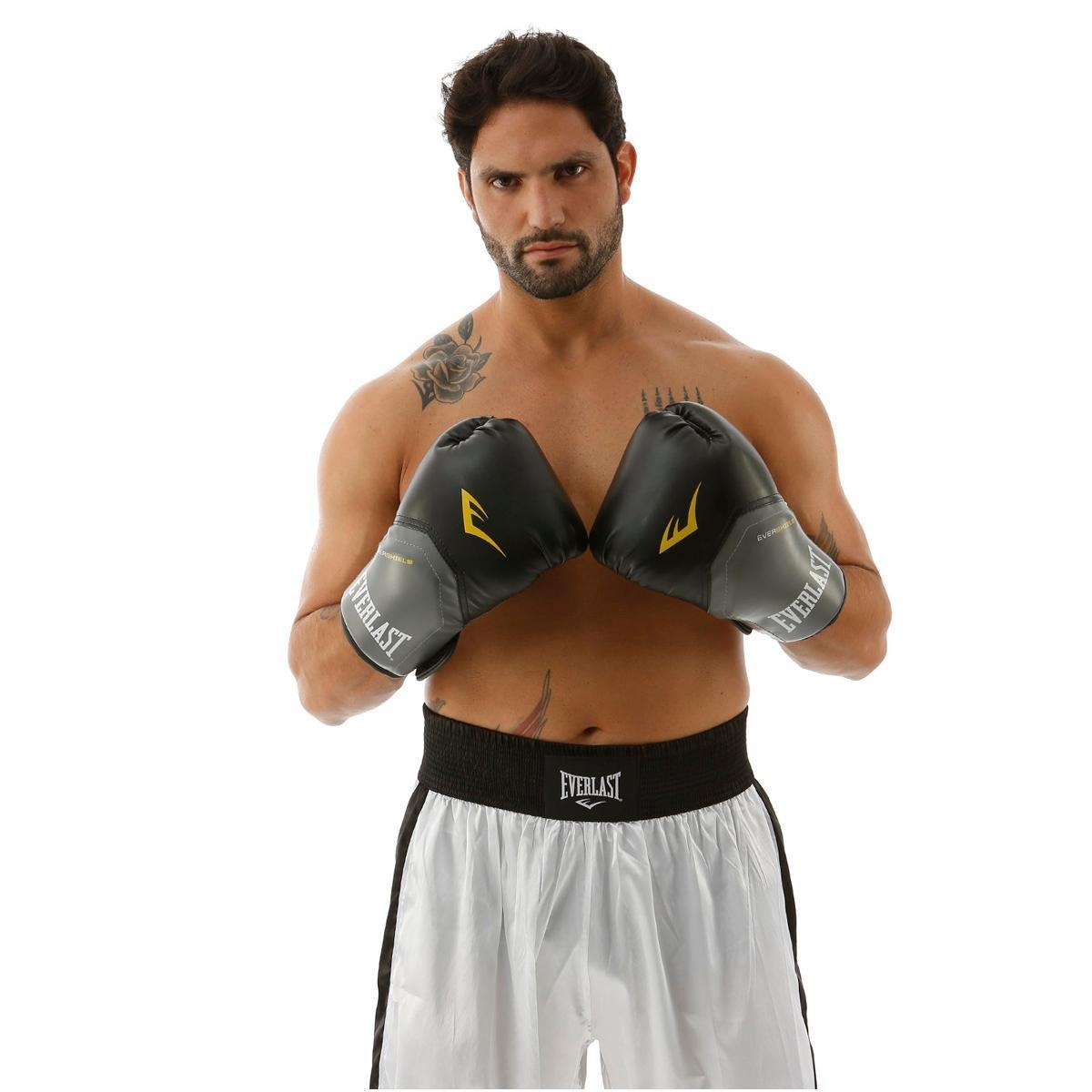 06780b8b5 Luva de Boxe Muay Thai Everlast Pro Style - 14 oz - Preto e Cinza ...