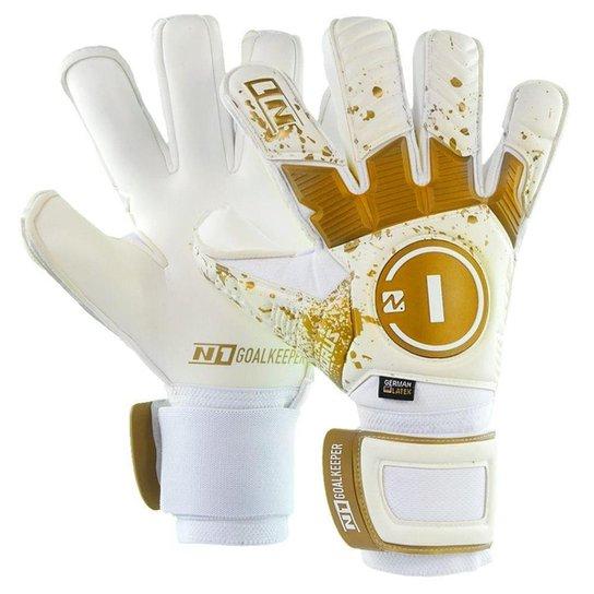 Luva de Goleiro Profissional N1 Horus Elite Gold - Branco+dourado