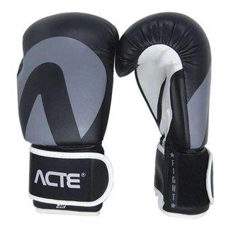 Luvas Acte Fight - Boxe E Muay Thai - Preto Cinza - Acte