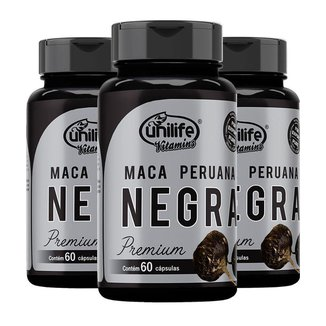 Maca Peruana Negra Premium - 3 unidades de 60 Cápsulas - Unilife