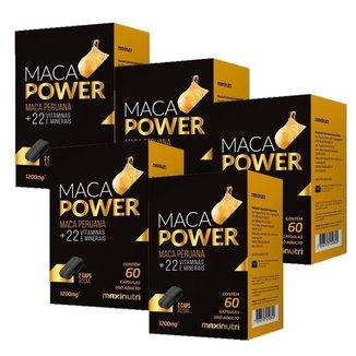 Maca Peruana Power com vitaminas - 5 unidades de 60 Cápsulas - Maxinutri