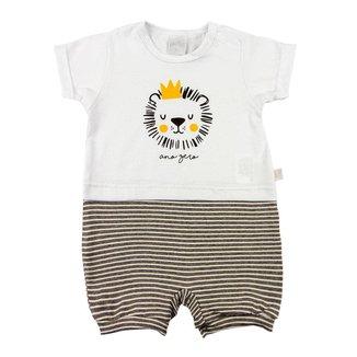 Macacão Bebê Ano Zero Cotton e Malha Listrada Fleece Leão