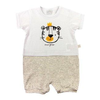 Macacão Bebê Ano Zero Cotton e Malha Listrada Fleece Tigre