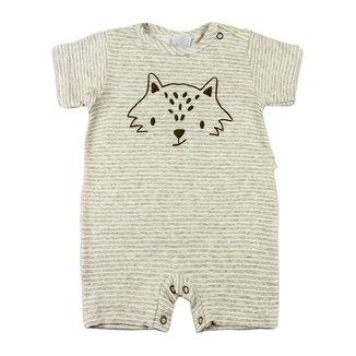 Macacão Bebê Ano Zero Malha Fleece Listrada Raposinha
