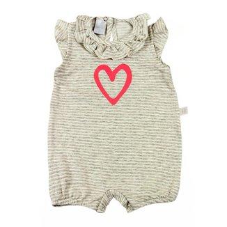 Macacão Bebê Ano Zero Malha Viscose Fleece Listrado Coração
