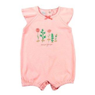 Macacão Bebê Ano Zero Suedine Bordado Florzinhas