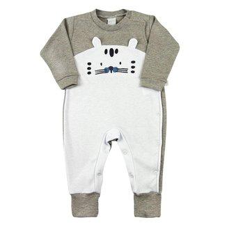 Macacão Bebê Ano Zero Suedine Longo Bordado Tigre