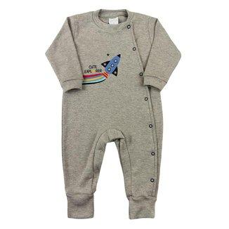 Macacão Bebê Ano Zero Suedine Longo Silk Foguete Cute Explorer