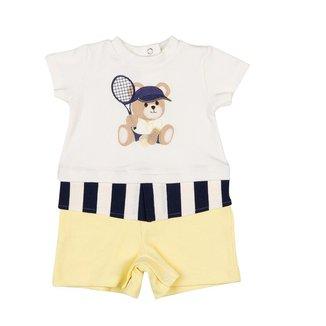 Macacão Bebê Coquelicot curto sobreposto Ursinho Tenista Amarelo