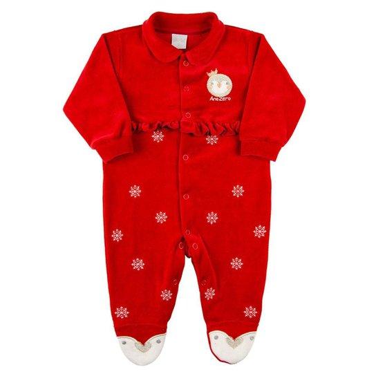 Macacão Bebê Plush Bordado Pinguim - Vermelho G - Vermelho