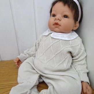 Macacão Bebê Tricô Menino Maternidade Bordado