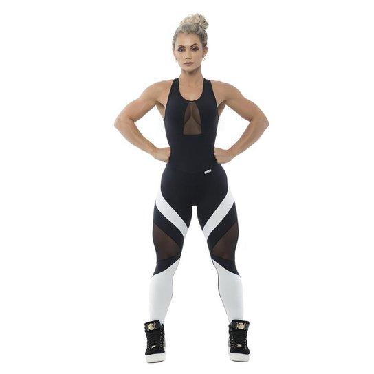 Macacão Body Fit Black - Preto+Branco