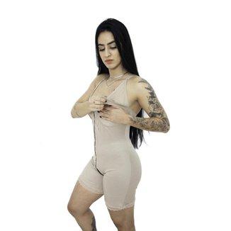 Macacão Body Modelador Amamentação C/ 2 Barbatanas Pós Parto M20