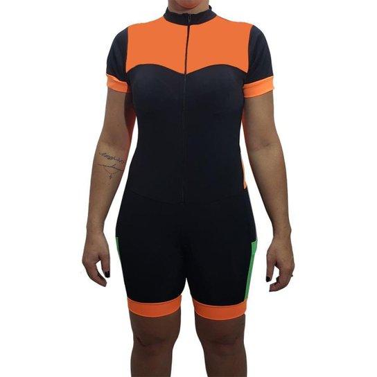 Macacão ciclismo de shorts manga curta - Preto+Laranja