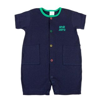 Macacão Curto Bebê Ano Zero Cotton com Botões Coloridos