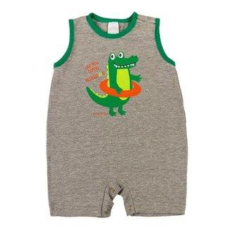 Macacão Curto Bebê Ano Zero Cotton Silk Alligator