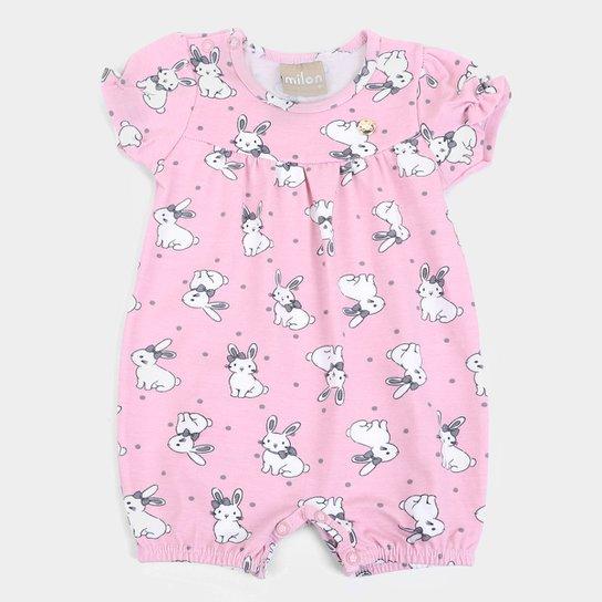 Macacão Curto Bebê Milon Coelhinhos Feminino - Rosa