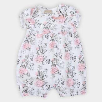 Macacão Curto Bebê Milon Floral Feminino