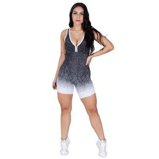 Macacão Curto Feminino Degradê Fitness Academia Bojo Tiras Orbis