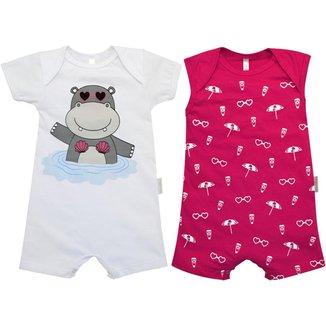 Macacão Curto Regata Bebê Nigambi Hipopótamo 2 peças Feminino