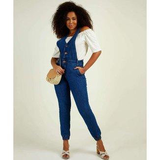 Macacão Feminino Jeans Bolsos Biotipo - 10047472594
