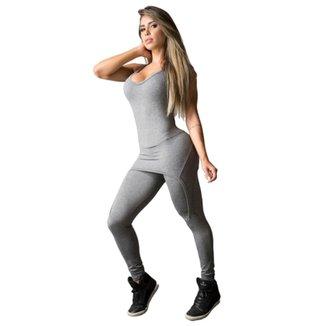 Macacão Fitness DMFit Saia Embutida Feminino