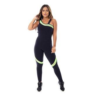 Macacão Fitness Feminino Compressão Detalhe Neon Um Ombro Com Bojo Orbis - PRETO COM ROSA NEON, G